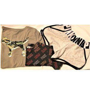 XS 3 pc VS PINK logo SHORTS sequin BLING TEE shirt